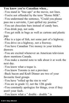 Canadian Humor: You Know You're Canadian When...