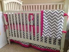 Hot Pink and Grey Chevron Custom Baby Bedding Set.