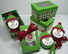 Snowman Tea Light Boxes by geobeck - Cards and Paper Crafts at Splitcoaststampers