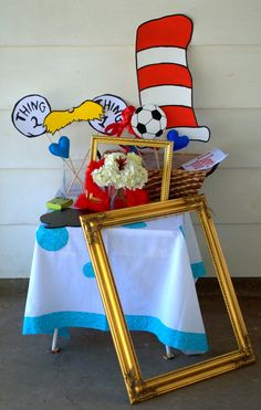 Dr. Seuss Baby Shower. Dr Seuss theme photobooth props.
