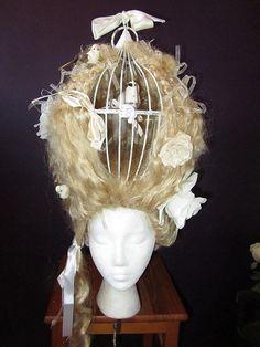 cage wig, women birdcage, birdcage art, women in birdcage, birdcage costume