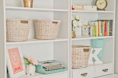 girl room, vintage typewriters, basket, mint, peach, nurseri, gold accent, shelv, wedding planners