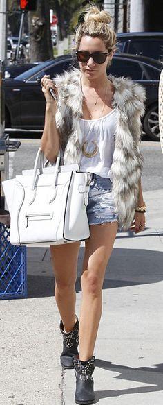 Ashley Tisdale in fur vest