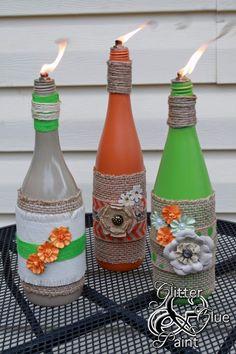 wine bottle tiki-torch DIY