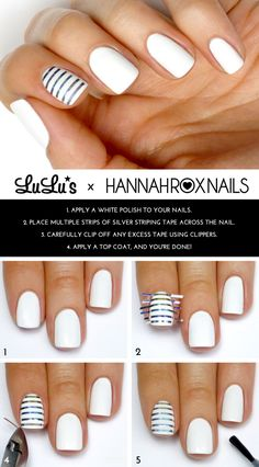 Cute white polish with striped accent nail. Lulus.com #Mani Monday: White and Silver Striped Accent Nail