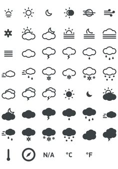 Meteocons - Icons for web and user interface designer.  in PSD, CHS, EPS, SVG and Web font. Free.