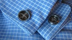 Tourbillon Cufflinks on Burberry Check shirt. How cool is that?