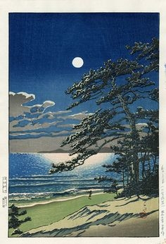 Spring Moon at Ninomiya, Hasui. I don't know who the artist is (looks like something by Tsuchiya Koitsu) or when it was done, but it's a gorgeous woodblock print.