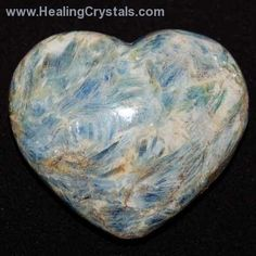 Blue Kyanite is a popular metaphysical stone, which will not hold negative energy, and thus never needs to be cleared.  Kyanite aligns all of the chakras, and can be used to open them as well.  Kyanite also aligns all layers of the aura.  This makes Kyanite an excellent choice for any type of balance or energy work. Good doe communication and calming, tranquilizing energy to the body.