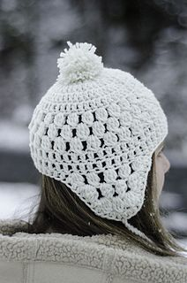Snowbelle Trapper Hat, free pattern by Kalurah. Love!