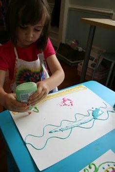BRILLIANT IDEA!  Let the kids make Glue Paint. It's so easy. Just add a few blobs of paint to HALF FULL bottles of glue. Then let the kids paint! The can just squeeze it out and make their picture or they can use a paint brush to smooth it out if they want. Super fun!