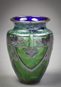 Loetz | Loetz glass vase with sterling silver overlay circa. 1900.