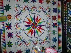 Rainbow circle star quilt