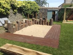 """Love the tree stumps in the sand pit at Maisie's Children's Centre - from I'm a teacher, get me OUTSIDE here! ("""",)"""