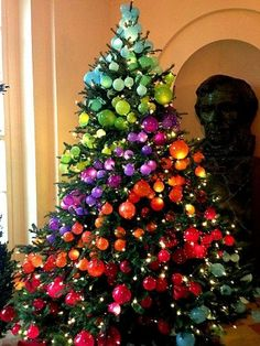 holiday, white houses, rainbow christma, christmas tree ideas, color, christmas decorations, rainbows, christma tree, christmas trees