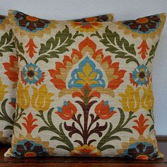 One Decorative Pillow Cover 20x20 inches  Waverly Damask Print in Orange Aqua Green Yellow on Oatmeal Background. $34.00, via Etsy. living rooms, color palettes, colors, decorative pillows, color pallets, pillow covers, decor pillow