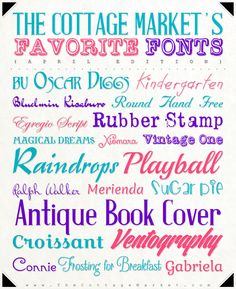 Fabulous Free Fonts for April from The Cottage Market