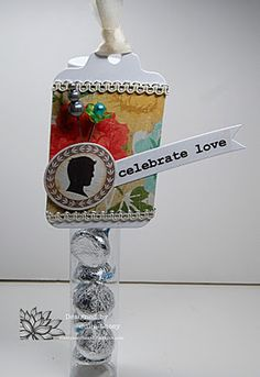 "SRM Stickers: Tubes:  @Julie Lacey created this elegant tube using a ""celebrate love"" Sticker sentiment as part of her embellishment.  Would make a beautiful wedding favor."