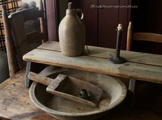 Some of my favorite things: Early Woodenware, Old crocks , Hog scraper candlesticks....early tin cutters....