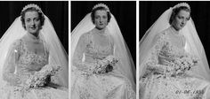 Diana's mother another very young bride who made a disastrous marriage to an older man. Chic Vintage 1950s Bride - Hon Frances Roche, daughter of Lord Fermoy, on her marriage to Viscount Althorp