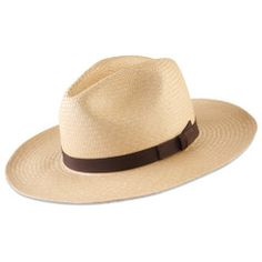 Packable Panama hat that springs back to its original shape when unpacked. It is made in Ecuador from bleached leaves of the Toquilla palm, the traditional plant fiber used to make Panama hats since they were first discovered by North Americans in the early 1900s during construction of the Panama Canal. Ideal for travel, it can be easily packed into suitcases or squeezed flat for between-seat storage. $79.95