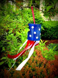 Patriotic 4th of July Tin Can Windsock