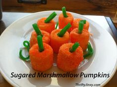 Sugared Marshmallow Pumpkins Recipe - Perfect for Thanksgiving table decorations!!