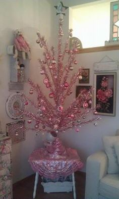 My pink aluminum tree decorated with Shiny Brites.  So glad I bought this tree!