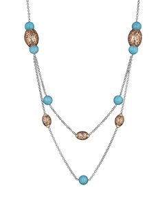 18k Rose Gold and Rhodium Plated Sahara Necklace with Amazonite
