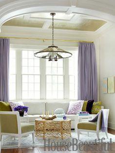 Lavender, chartreuse and aqua living room. Design: Pat Healing. Photo: Maura McEvoy. housebeautiful.com #living_room #lavender #chartreuse #aqua #colors
