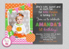 Pumpkin Chalkboard Birthday Invitation 1st birthday invitation #TheTrendyButterfly #pumpkin #orange #polkadot #chalkboard