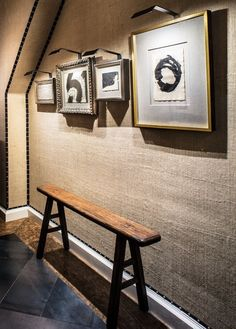 burlap covered walls