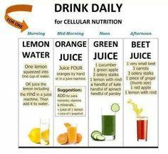 lemon water orange juice green juice beet juice
