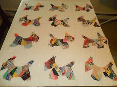 Scotty Scottie Dog Dogs Crazy Quilt Blocks Machine Sewed Large | eBay