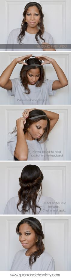 How to do the boho rolled, half updo.  Cute hairstyle for parties or everyday!  From Spark and Chemistry blog.