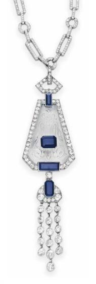 AN ART DECO DIAMOND, SAPPHIRE AND ROCK CRYSTAL NECKLACE circa 1925.   Christie's