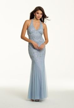 Long Beaded Mesh Halter Dress from Camille La Vie and Group USA