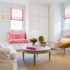 In this small, mostly white living room, pink makes a big statement in a window seat: http://www.bhg.com/decorating/color/schemes/what-color-goes-with-pink/?socsrc=bhgpin050314pinkroseandwhite&page=7