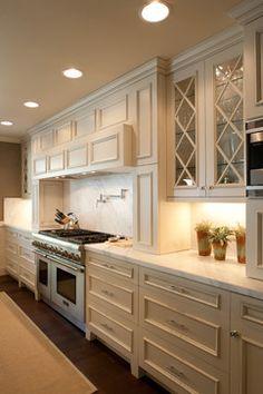 kitchen design--glass cabinets-white kitchen--Barton Woodworks