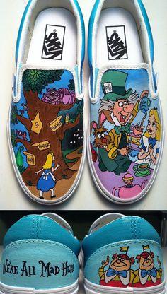 Alice in Wonderland Shoes by KissaThisArt on Etsy, $135.00