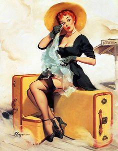 """""""Welcome Traveler"""" by Gil Elvgren, 1955"""