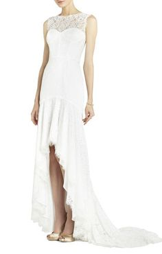 BCBG CLARISSA SLEEVELESS LACE HIGH-LOW GOWN