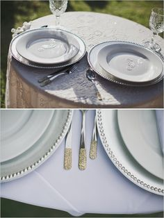 gold glitter dipped silverware #diy #weddingreception #weddingchicks http://www.weddingchicks.com/2014/02/03/malibu-forest-diy-wedding/