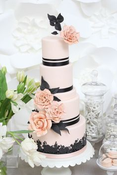 So gorgeous! Love the simplicity and the sophistication #wedding #weddingcake #cake #parisian #pink weddingcak cake, blush weddings, wedding cakes, cake black