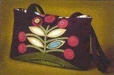 wool felt, felt wool, purs pattern, felt bag, primitive folk art