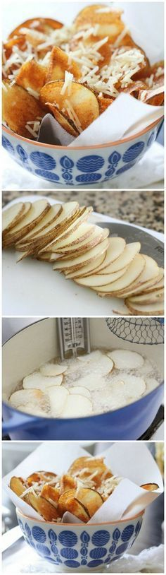 Homemade Parmesan Potato Chips...Crispy and so delicious! www.picky-palate.com