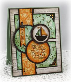 The colors seem a bit unusual to me for this type of card, but they sure do work! A lot of layers on this card. I like how they all tie into each other. Nice card!