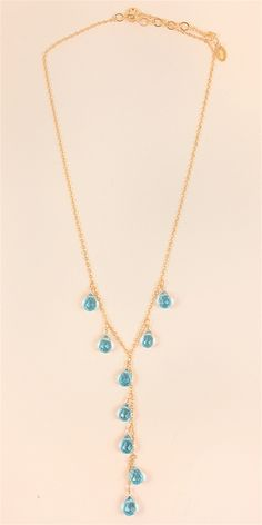 Drop Stone Necklace - BlueAll Jewelry and Accessories are Final Sale.