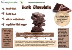 ☛ Do you eat extra dark and raw chocolate?  It packed with health benefits. Make sure it is ate least 70% organic cocoa.