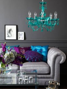 Aqua & Purple Bursts - would love this color scheme in our bedroom, repaint the lavendar with moody grey and add pops of purple and turquoise or lime green.